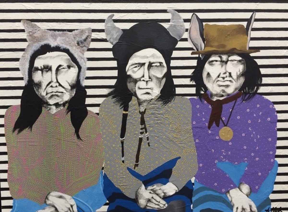 """Clark's artwork, inspired by the Story of """"Coyote and Rabbit kill a Buffalo"""" told by Wing"""