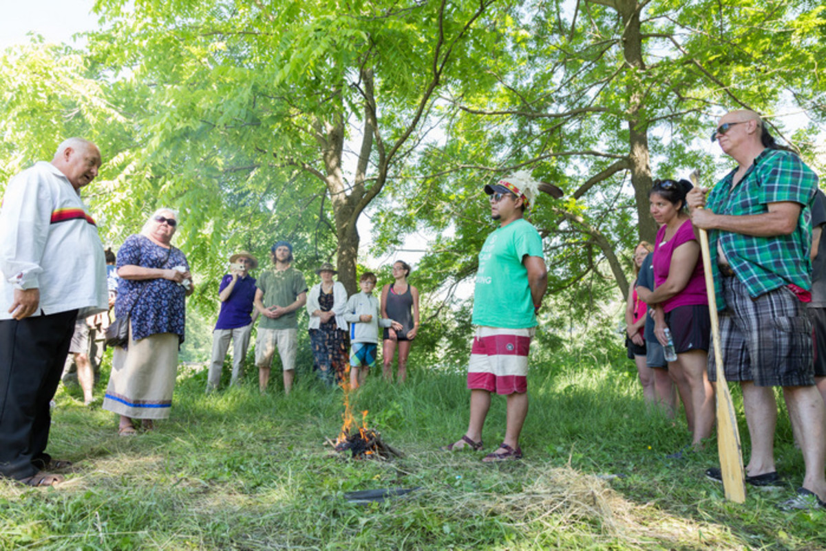 The edge of the woods ceremony to welcome visitors to the Mohawk Strawberry festival at the Kanastioraheke Mohawk community.