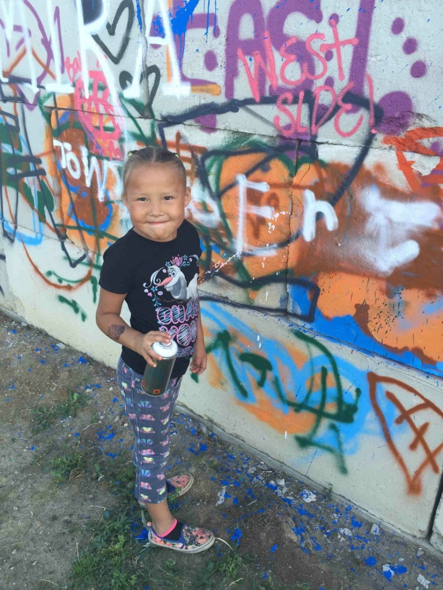 A young Native girl shows her artistic style. Scape Martinez will lead a four-day graffiti art camp starting May 30th benefiting Native Youth in Eagle Butte. Courtesy Cheyenne River Youth Project.