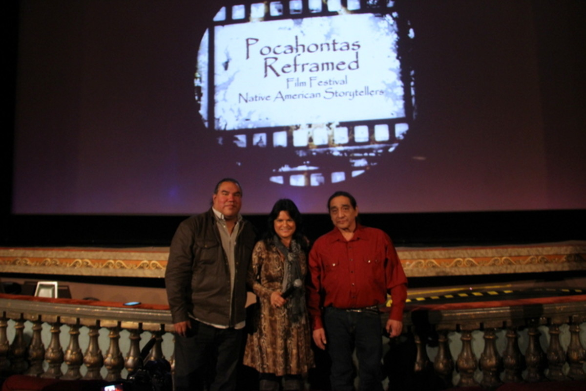 Native Filmmakers Chris Eyre and Georgina Lightning and Native Actor George Aguilar at the Pocahontas Reframed Film Festival in February 2017 at the historic BYRD Theater in Richmond Virginia. Photo Vincent Schilling
