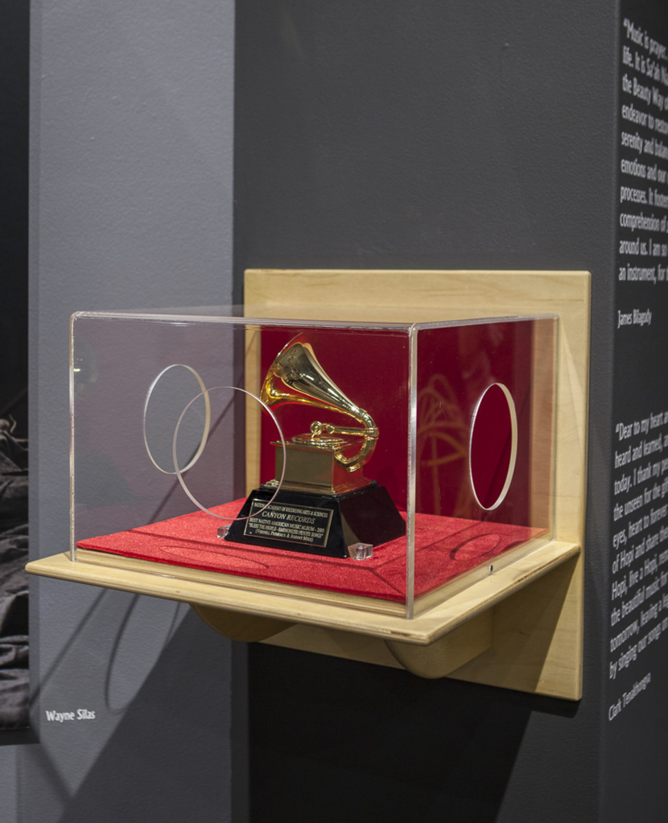 The Canyon Record's GRAMMY at the 'One World, Many Voices' exhibit at the Pueblo Grande Museum - Courtesy Canyon Records