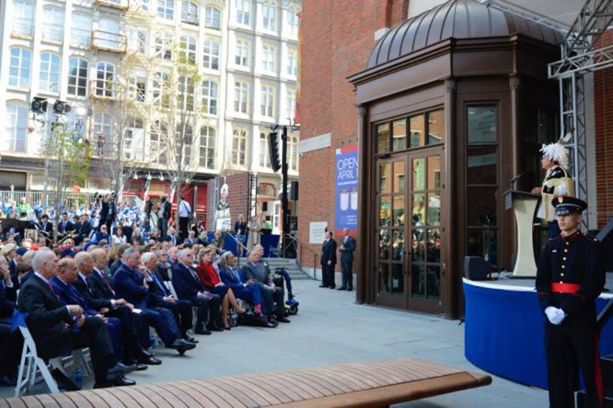 Oneida Indian Nation representative and CEO of Nation Enterprises Ray Halbritter speaks to the crowd gathered for the official dedication of the Museum of the American Revolution in Philadelphia on April 19.