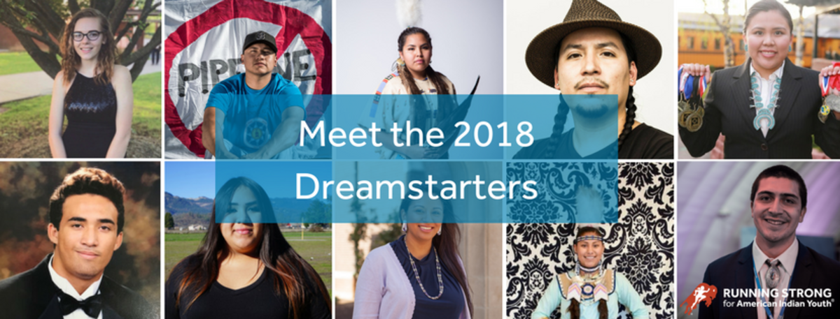 10 Recipients of $10,000 Native Youth Dreamstarters Grants recognized this year by Olympian Billy Mills.