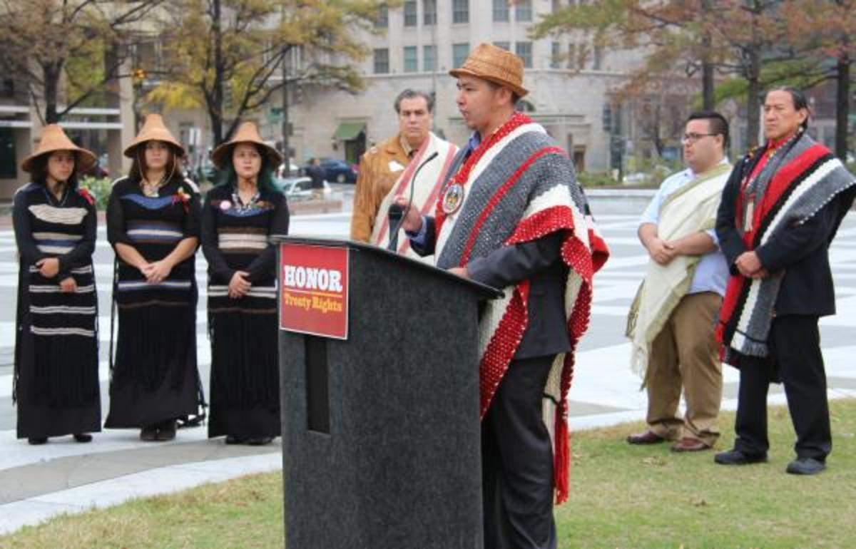 Chairman of the Lummi Nation Tim Ballew II expressed his concerns last Thursday in Washington, D.C. to express concerns about treaty violations related to the proposed coal terminal and train railway for Cherry Point, Washington.