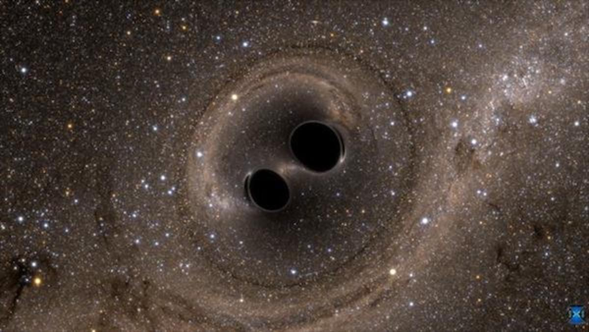Above, a still from a video simulating the collision and merging of two black holes more than one billion years ago. The resulting gravitational waves were measured in September 2015, and after months spent verifying the findings, physicists announced on February 11 that Einstein's prediction that gravitational waves existed has actually been borne out.