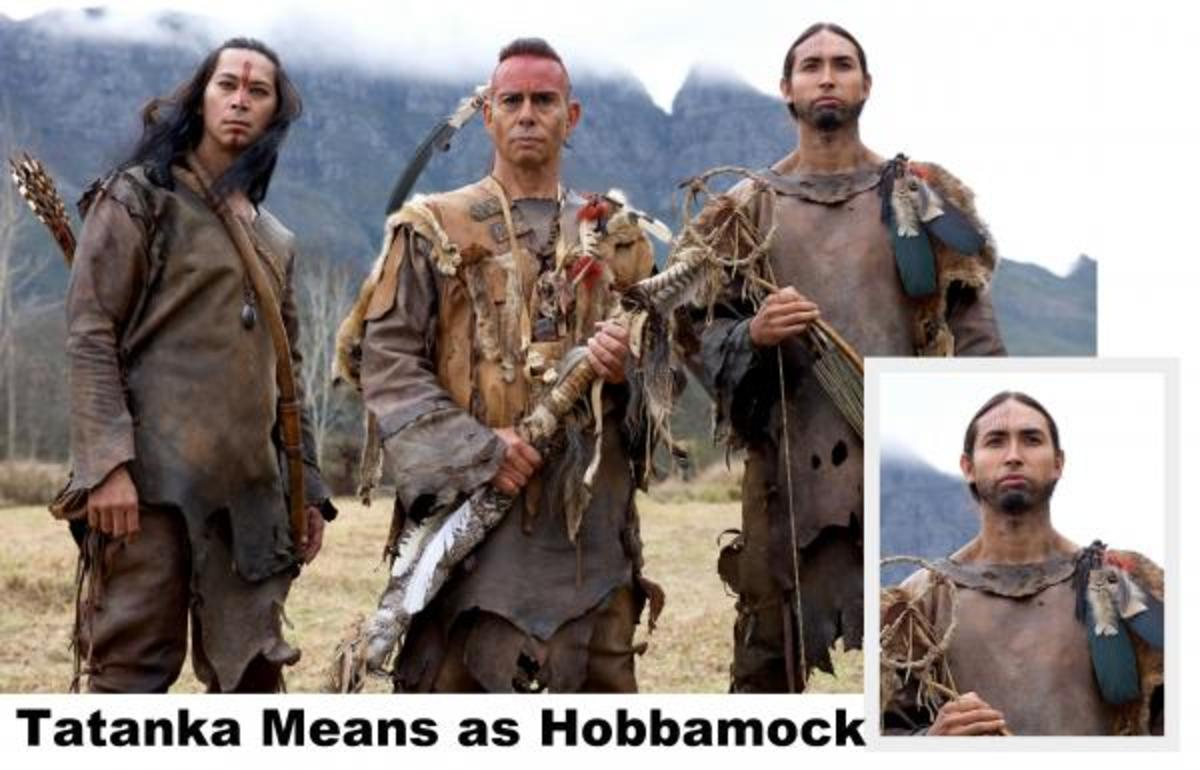 """Kalani Queypo as Squanto, Raoul Trujillo as Massasoit and Tatanka Means as Hobbamock in National Geographic Channel's """"Saints & Strangers."""""""