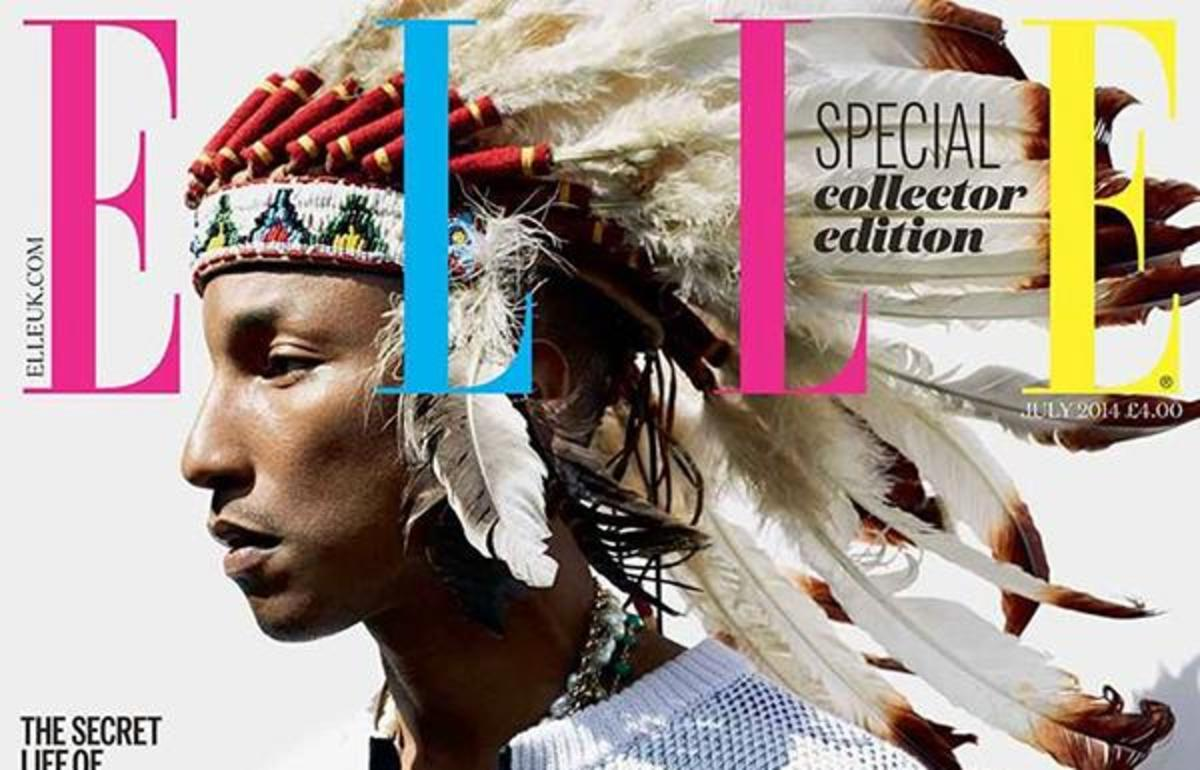 Pharrell Williams appeared on the July 2014 cover of Elle UK in a headdress.