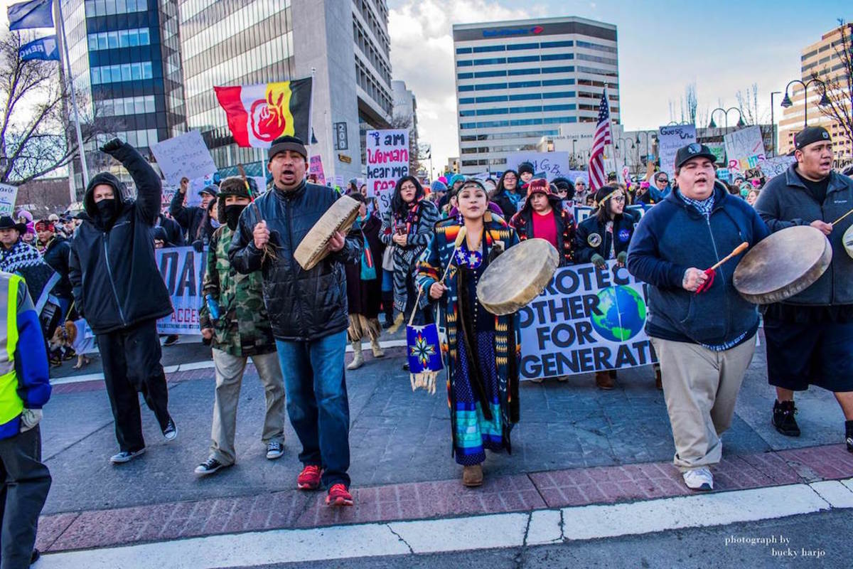About 40 Native men, women and children participated in the Reno Women's March.