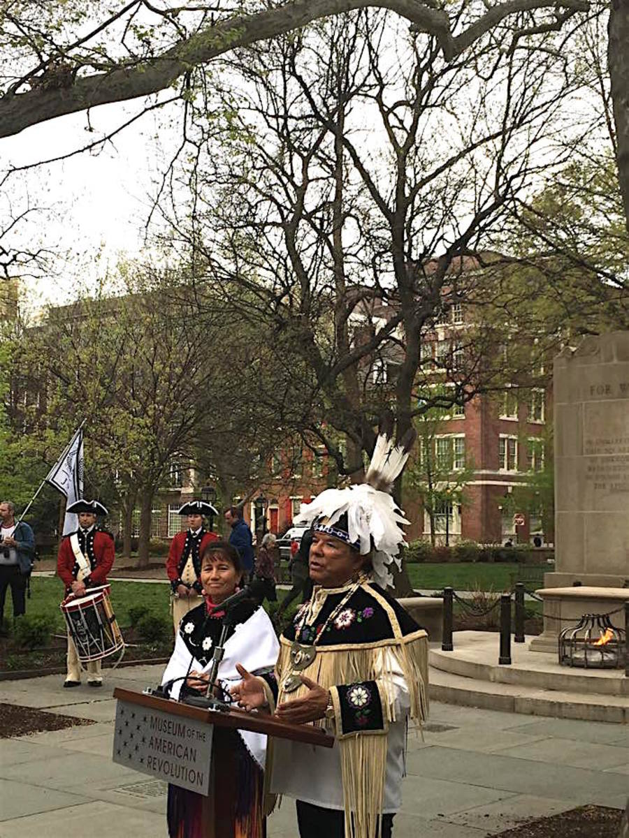 Oneida Indian Nation representative and CEO of Nation Enterprises Ray Halbritter and Sheri Beglen, Oneida language preservation coordinator, spoke at the interfaith service held before the official opening of the Museum of the American Revolution on April 19.