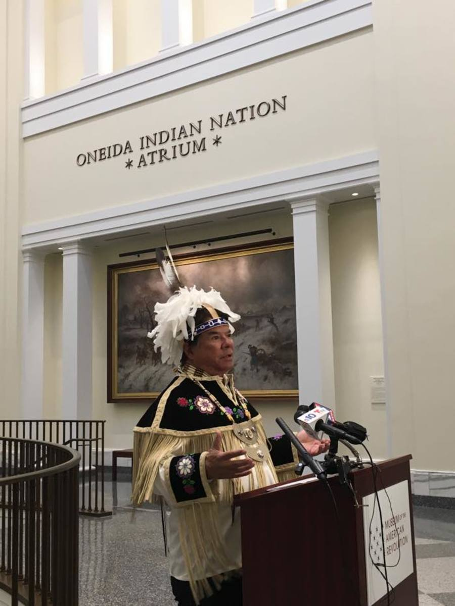 Oneida Indian Nation representative and CEO of Nation Enterprises Ray Halbritter speaks to a small group of reporters in the Oneida Indian Nation Atrium at the Museum of the American Revolution on April 19.