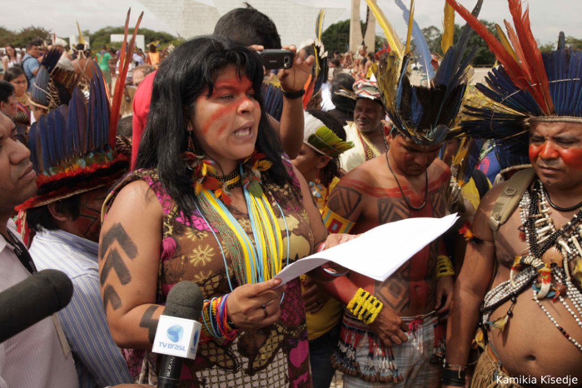 Sonia Guajajara speaking out against threats like illegal logging at indigenous protest in Brasilia