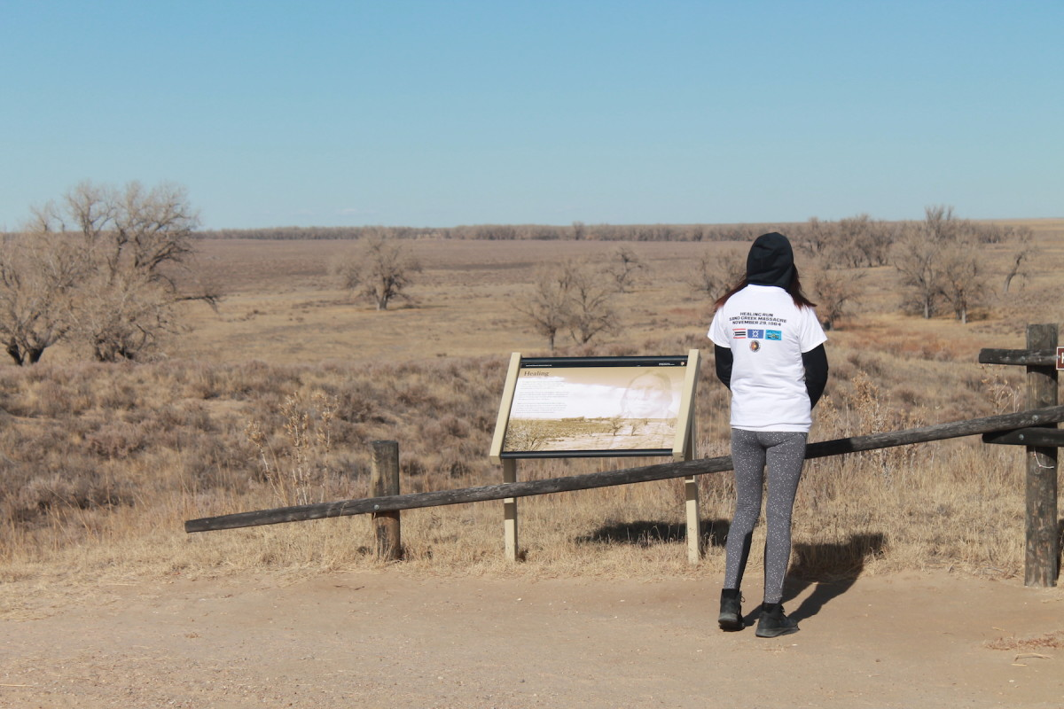 A young participant reflects on the Sand Creek Massacre. (Courtesy NPS/Shawn Gillette)