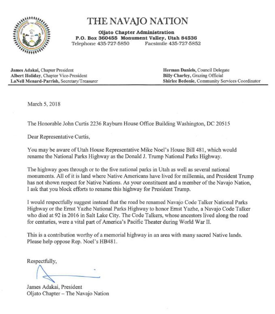 Navajo Nation letter to Congressman Curtis opposing the proposed Trump highway.
