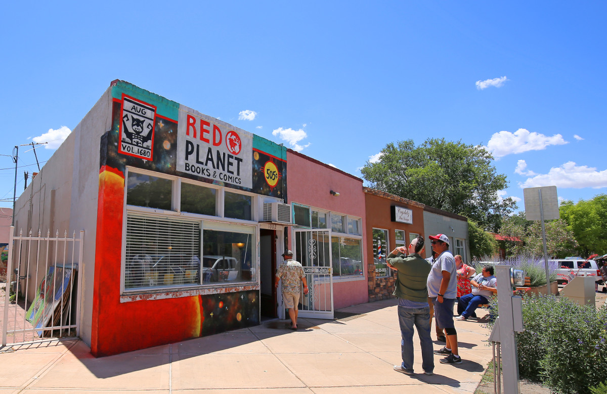The storefront of the Red Planet Comics and Bookstore.
