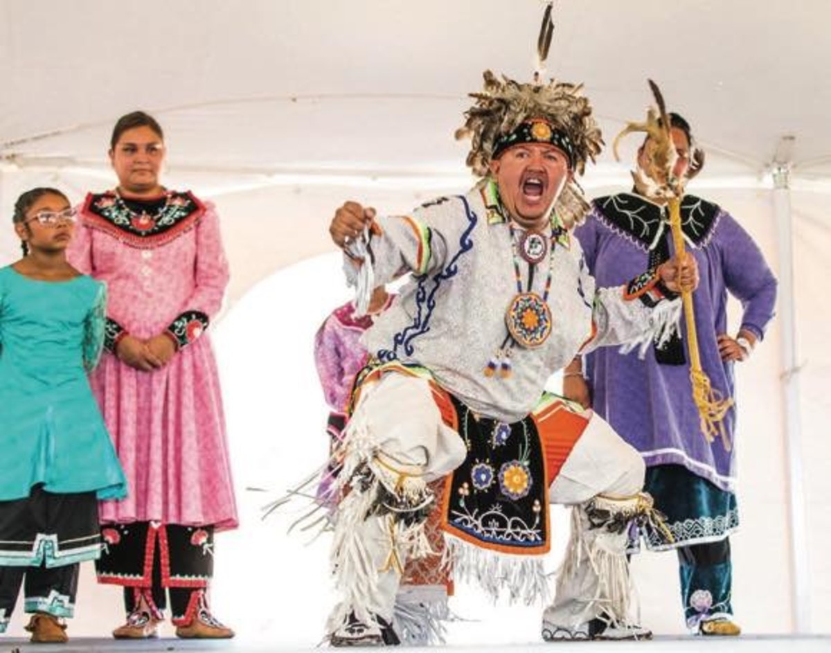 Smoke dance champion Heath Hill, Oneida, punctuating his last step on beat at the 25th Annual Ganondagan Festival, Rochester, NY, July 23-24, 2016.
