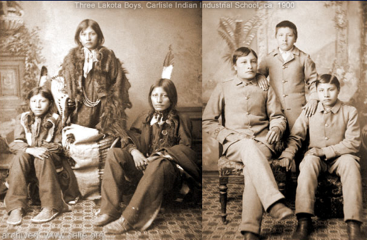 """Wounded Yellow Robe, Henry Standing Bear and Timber Yellow Robe before and after the Carlisle Indian School gave them """"proper"""" clothes and haircuts."""