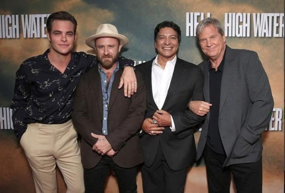 Chris Pine, Ben Foster, Gil Birmingham and Jeff Bridges attend a Screening Of CBS Films' 'Hell Or High Water' at the ArcLight Hollywood on August 10, 2016 in Hollywood, California. Photo credit: Todd Williamson / Getty Images