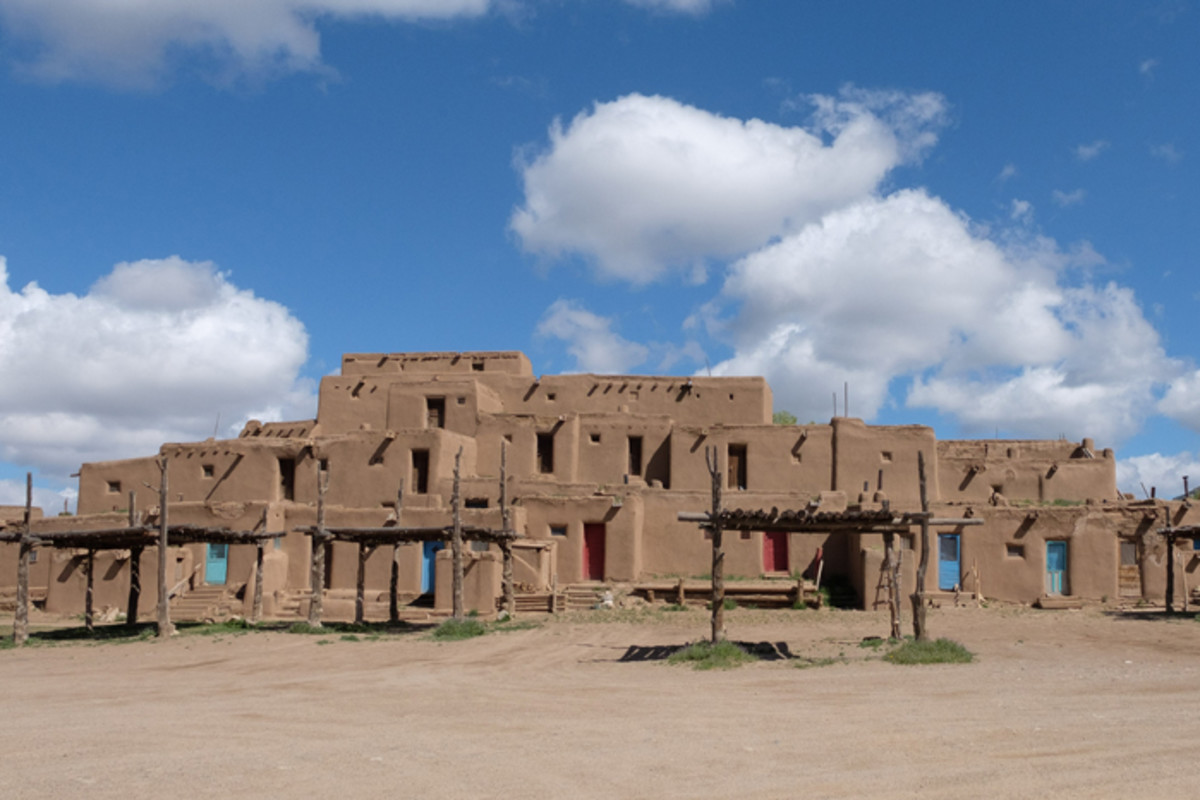 Adobe dwellings, built four or five stories high, were designed as lookout posts so residents could see enemies approaching.