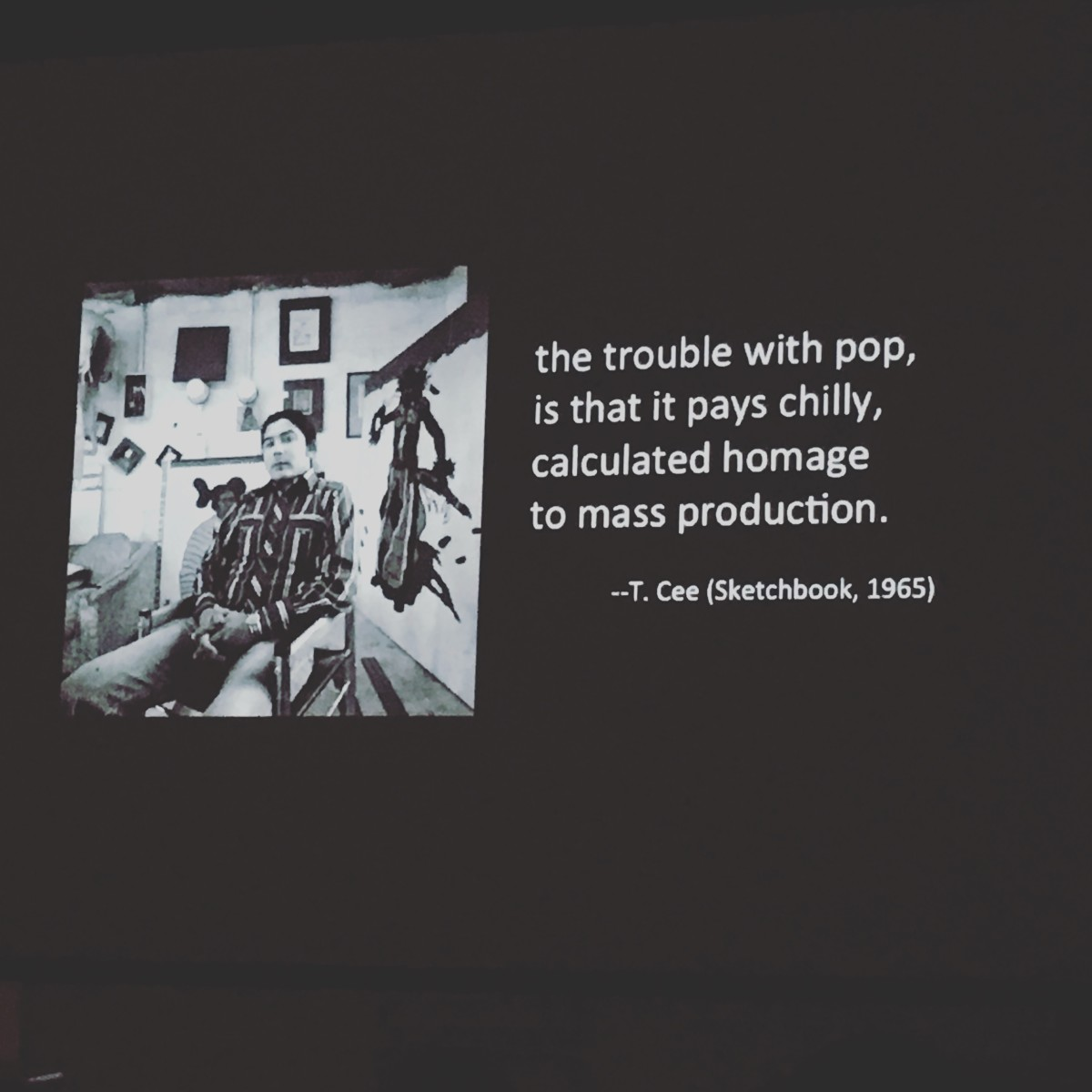 A presentation slide from Kristine Ronan's controversial lecture on Indian art titled, Indian-Pop-Politics The Rise and Fall of a Native American Art.