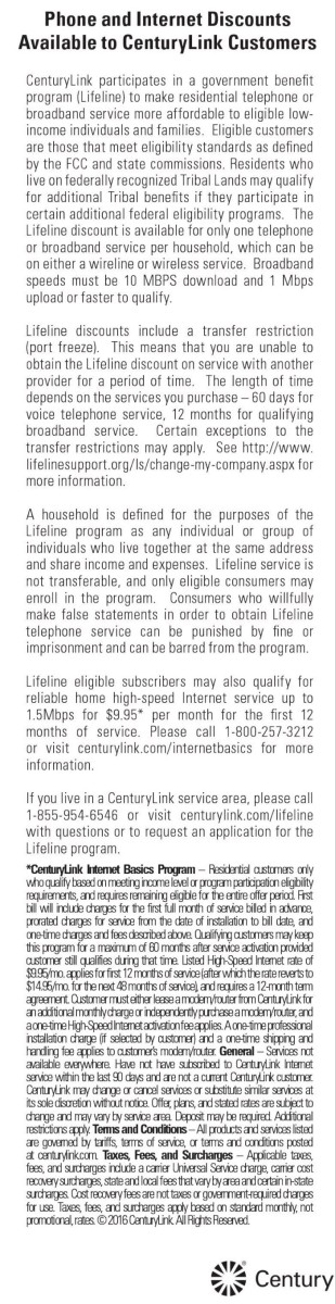 Century phone and Internet discounts
