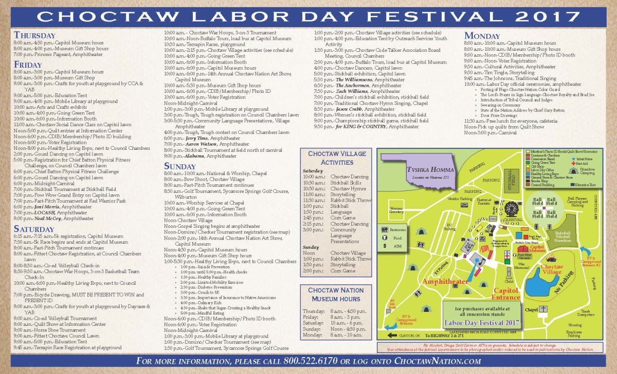 2017 Choctaw Labor Day Festival and Pow Wow Brochure.