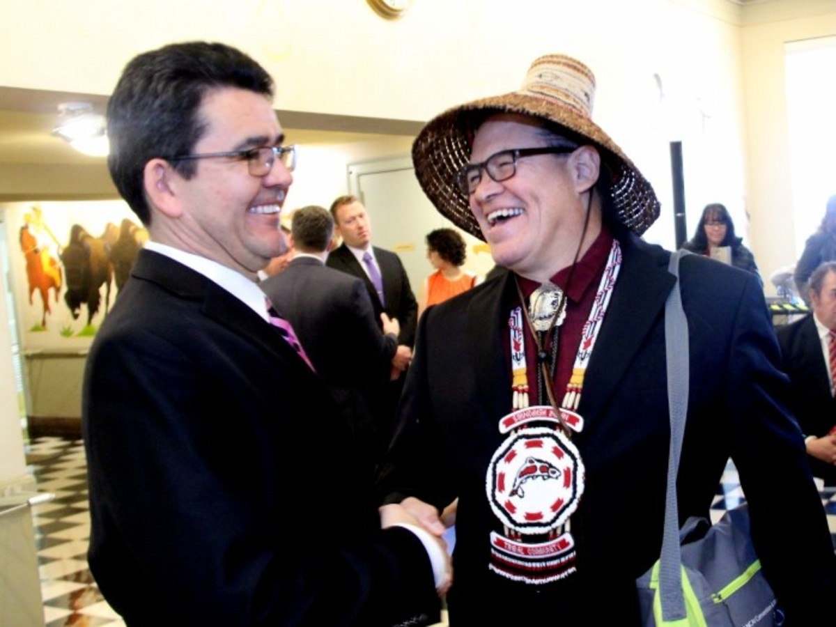 Deputy Secretary Mike Connor shares a lighthearted moment with NCAI President Brian Cladoosby on January 13th. - Photo Vincent Schilling