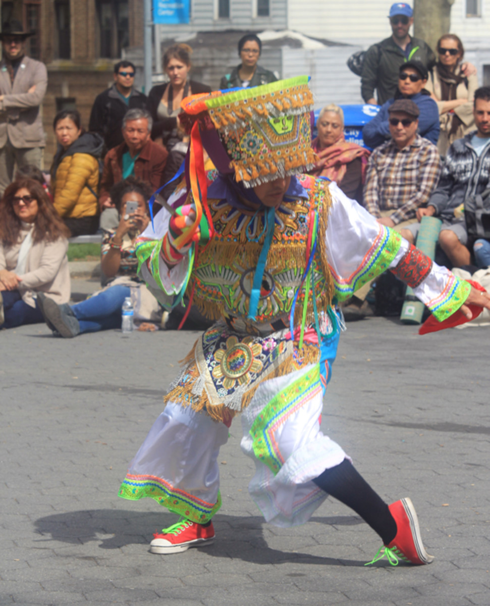An Andean Peruvian Scissor Dancer demonstrating his athleticism as part of an event held April 23 to share indigenous culture with the local community.