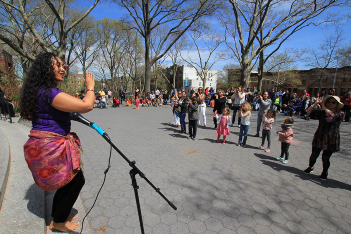 Hawaiian Native and Brooklyn resident Kawai teaches the audience the ancient tradition of hula as part of an event held April 23 to share indigenous culture with the local community.