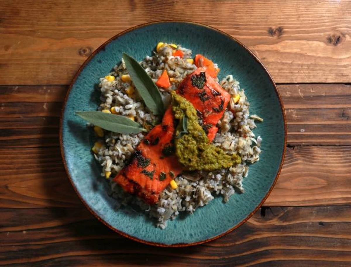 With the popularity of Native cuisine, you may want to try this maple-sage glazed salmon with wild rice pilaf and roasted poblano salsa by Chef Brian Yazzie, Diné.