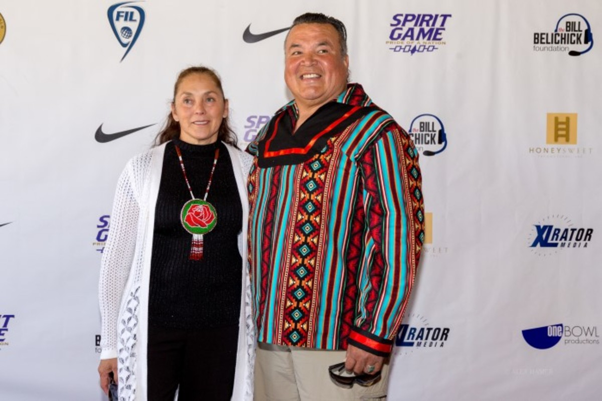 Joan Bucktooth with Nationals coach Freeman Bucktooth at the 'Spirit Game, Pride of a Nation' premiere.