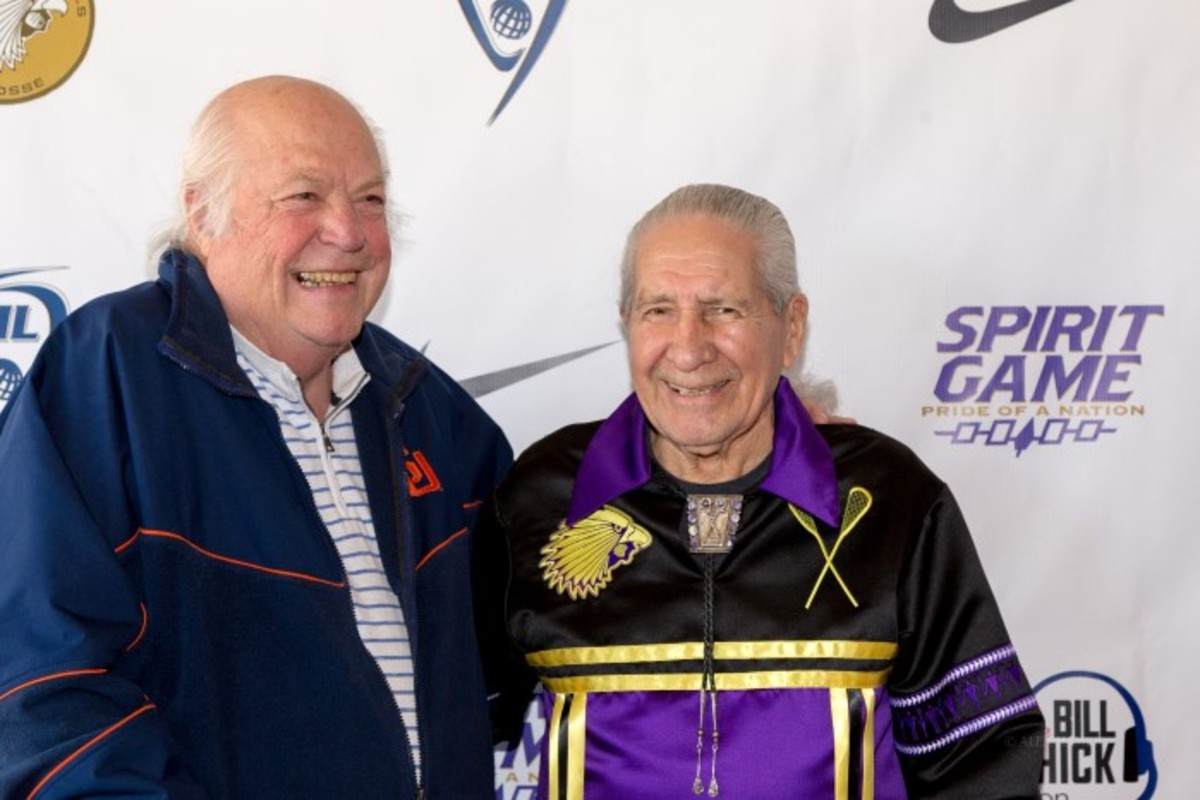 Retired Syracuse University lacrosse coach Roy Simmons Jr. with former lacrosse goalie Oren Lyons at the 'Spirit Game, Pride of a Nation' premiere.
