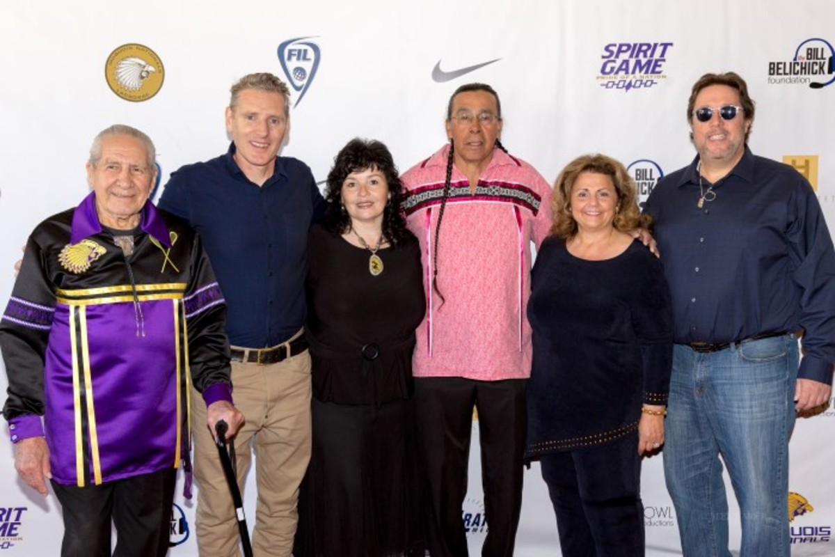 (Left to right) Oren Lyons with Director Peter Baxter, Betty Lyons, Sid Hill, Executive Producer Gayle Anne Kelley and Director Peter Spirer.