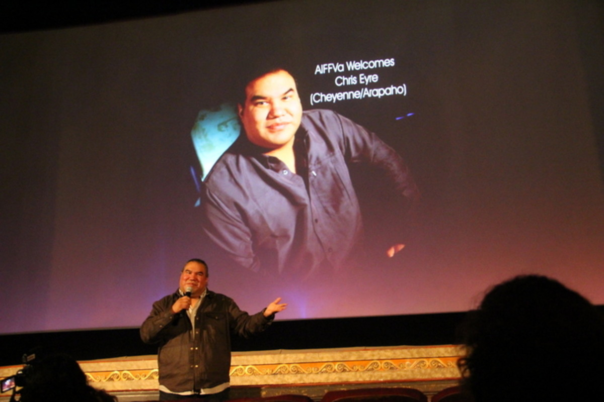 Native filmmaker Chris Eyre answers questions from the audience at the Pocahontas Reframed Film Preview in Richmond, Virginia. Photo Vincent Schilling