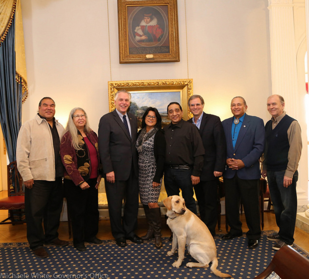 Gov. McAuliffe's puppy approves. 'The Pocahontas Reframed Film Festival' has already received support from the Commonwealth of Virginia, the day after the festival, Eyre, Lightning, Aguilar and Virginia tribal leaders were invited to meet with Virginia Governor Terry McAuliffe.