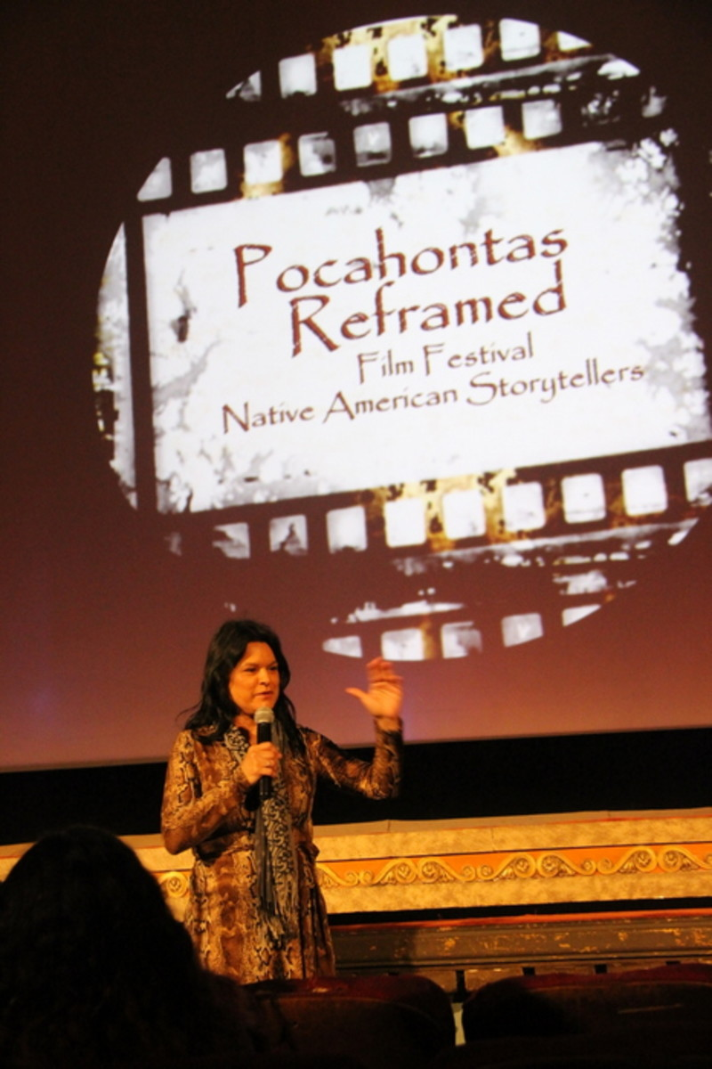 Native filmmaker Georgina Lightning answers questions from the audience at the Pocahontas Reframed Film Preview in Richmond, Virginia. Photo Vincent Schilling