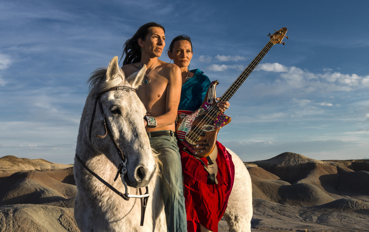 Navajo Punk rock band Sihasin--consists of Clayson and Jeneda Benally from the Navajo Nation--is seen with their horse Moonshadow in a canyon in Cameron, Arizona. Sihasin comes from a long tradition of protest music and traditional Navajo values.