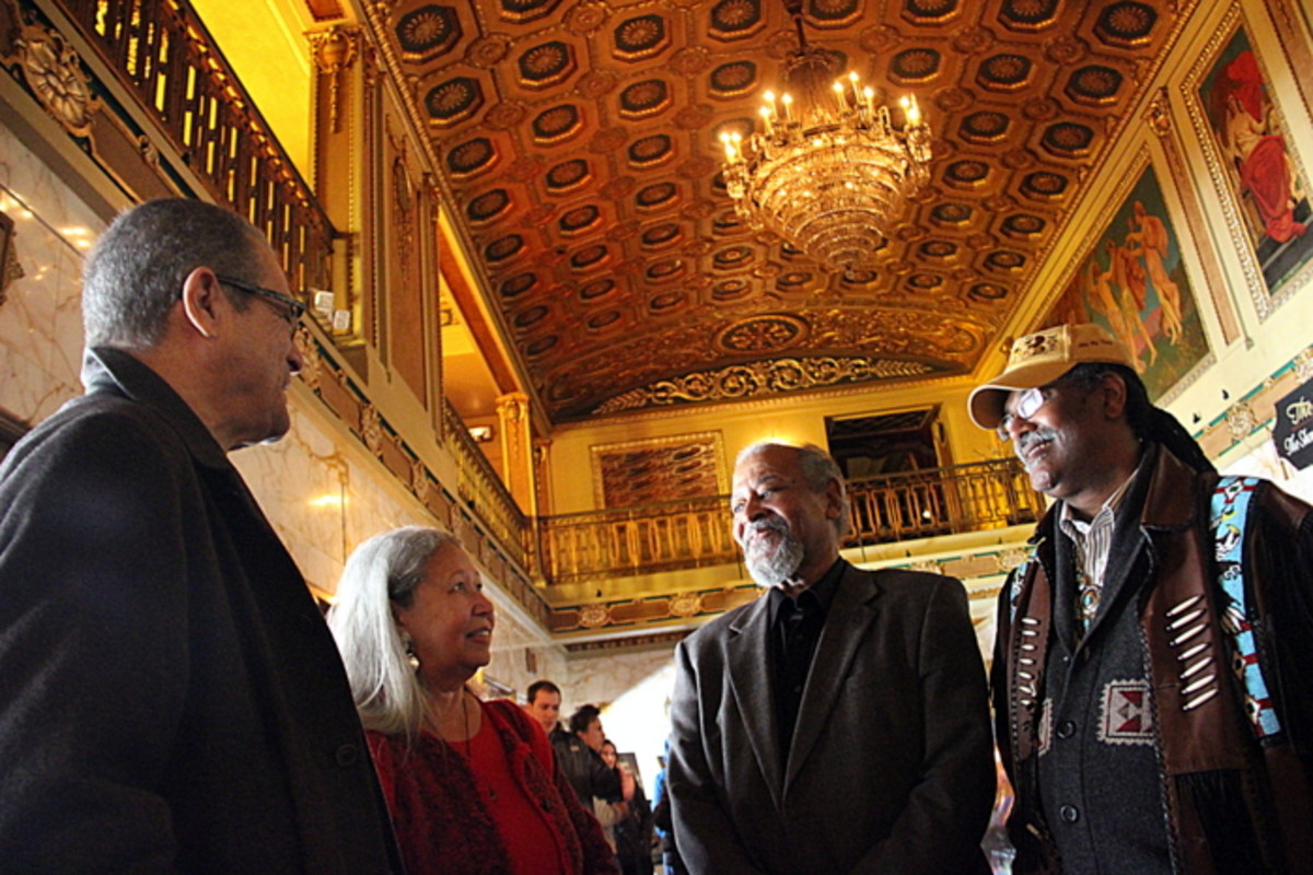 Chief Lynette Allston and friends socialize before the event begins at the historic Byrd Theater in Richmond, Virginia. Photo Vincent Schilling