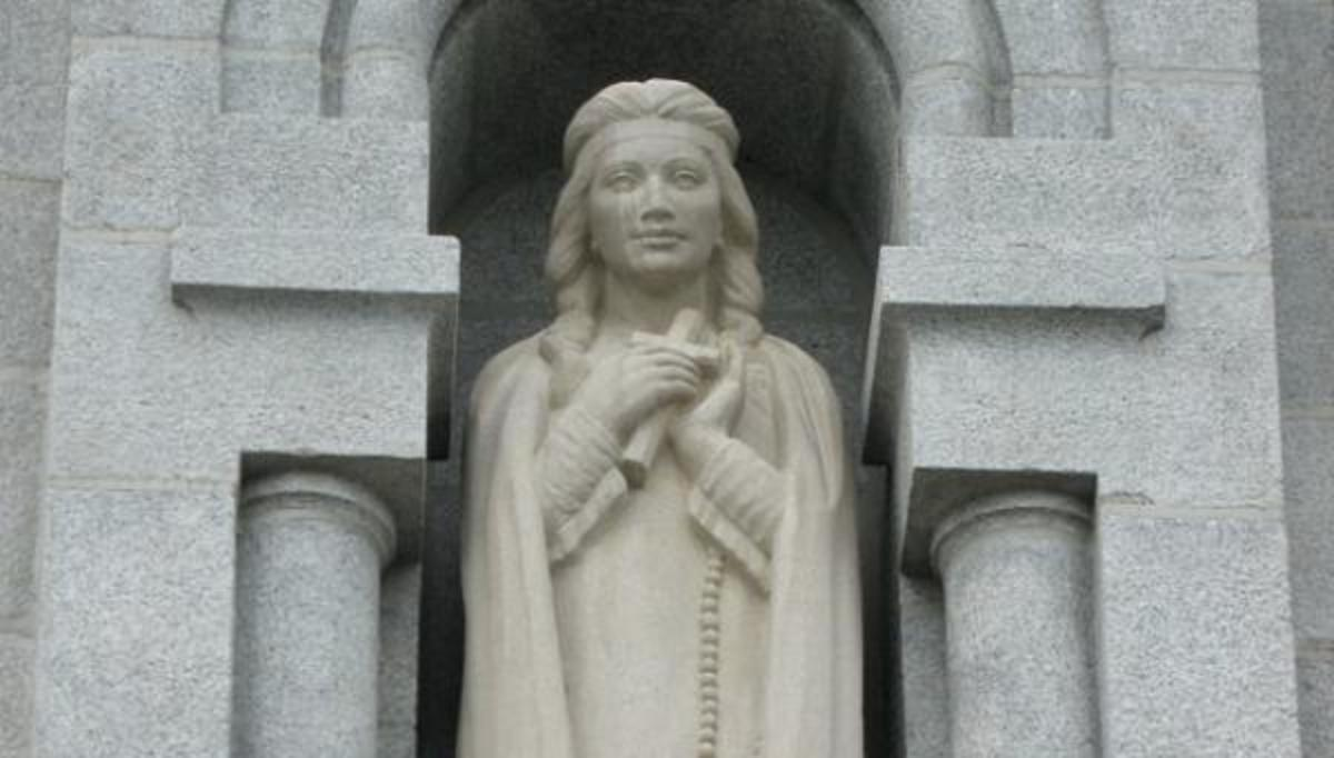 A statue of Kateri Tekakwitha, the first Native American to be certified a Saint by the Catholic Church, at the Basilica of Sainte-Anne-de-Beaupré, near Quebec City. (Photo by LovesMacs via Creative Commons)