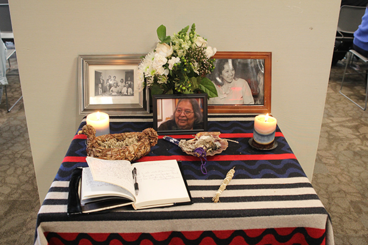 Each year an altar is placed for guests to write mementos to Ingrid Washinawatok El-Issa.