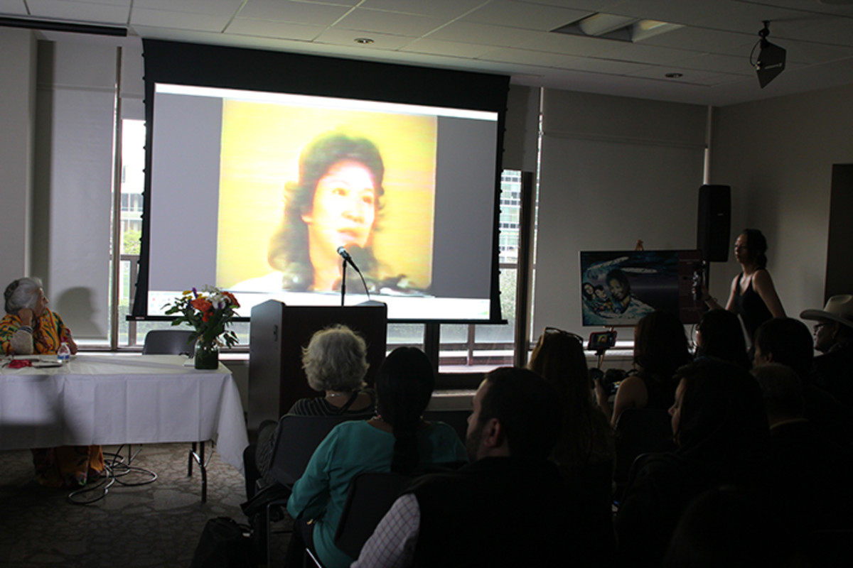 Guests watched videos of Ingrid Washinawatok El-Issa, slain in 1999 by Colombia guerrillas.