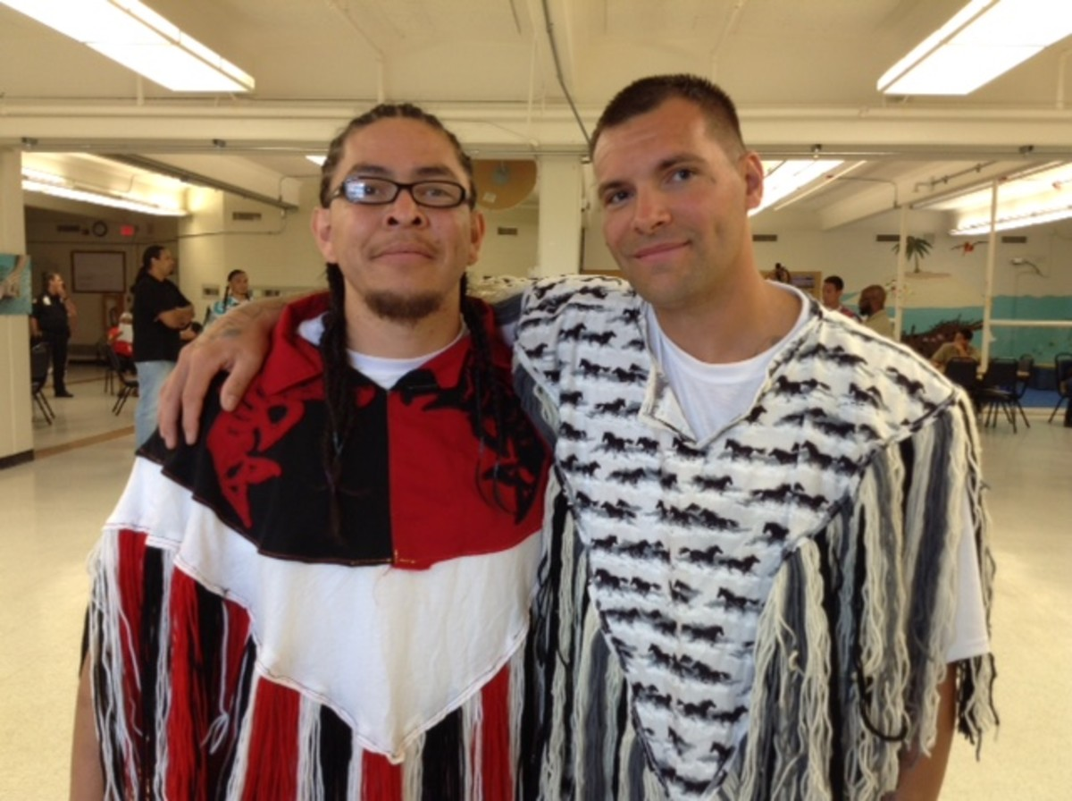 Tribal Sons Members Cheney Salazar, left and Robert Rose, at the 2017 Tribal Sons Powwow.