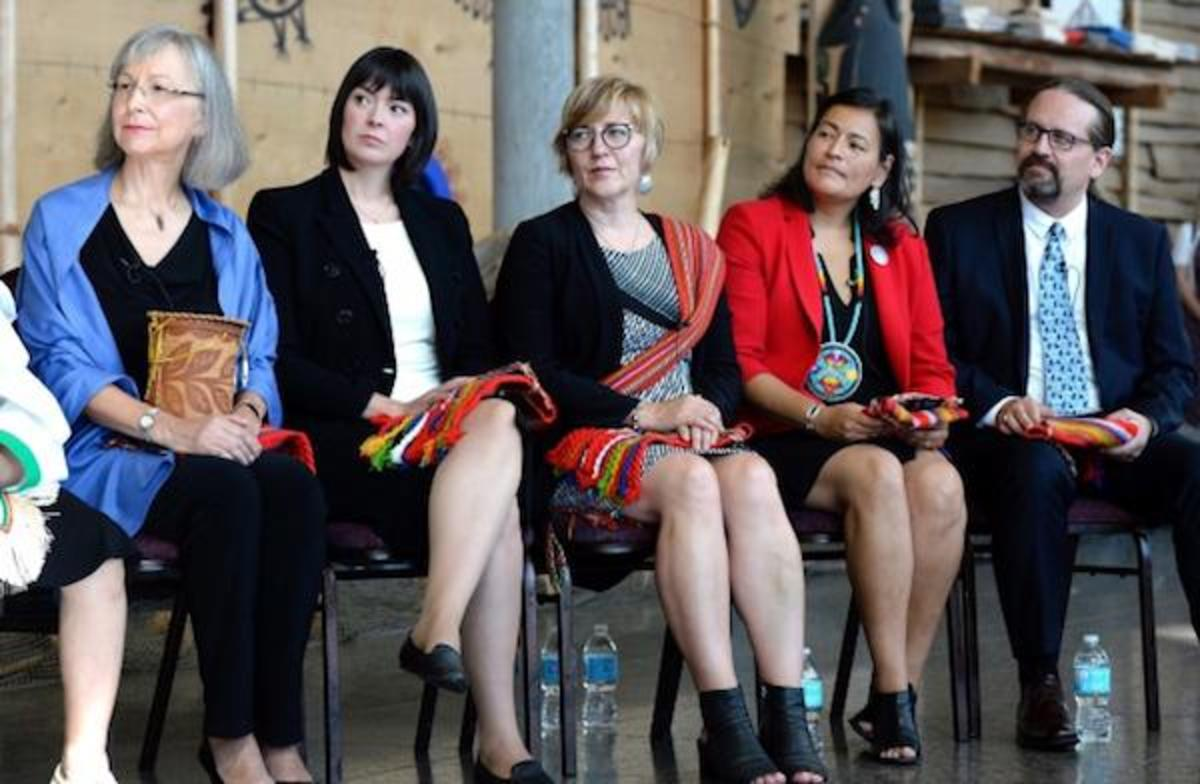 Left to right: Marion Buller, Qajaq Robinson, Marilyn Poitras, Michele Audette and Brian Eyolfson, the members of the commission conducting a national inquiry into the high rates of murdered and missing indigenous women in Canada.
