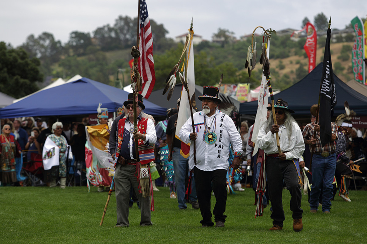 The colors are brought in during grand entry during the San Luis Rey Band of Mission Indians 21st Annual Inter-Tribal Powwow, on Saturday afternoon, June 10, 2017. Diego James Robles