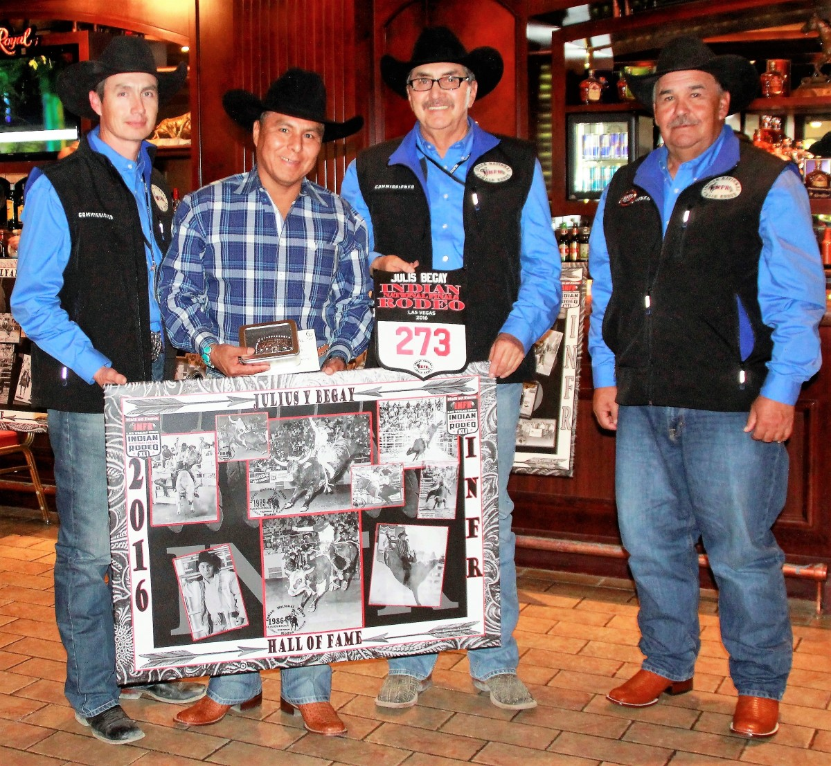 Indian National Finals Rodeo Hall of Famers with Julius Y Begay with INFR Commissioners -L to R, Bo Vocu,President, Eugene Creighton and Sam Bird,