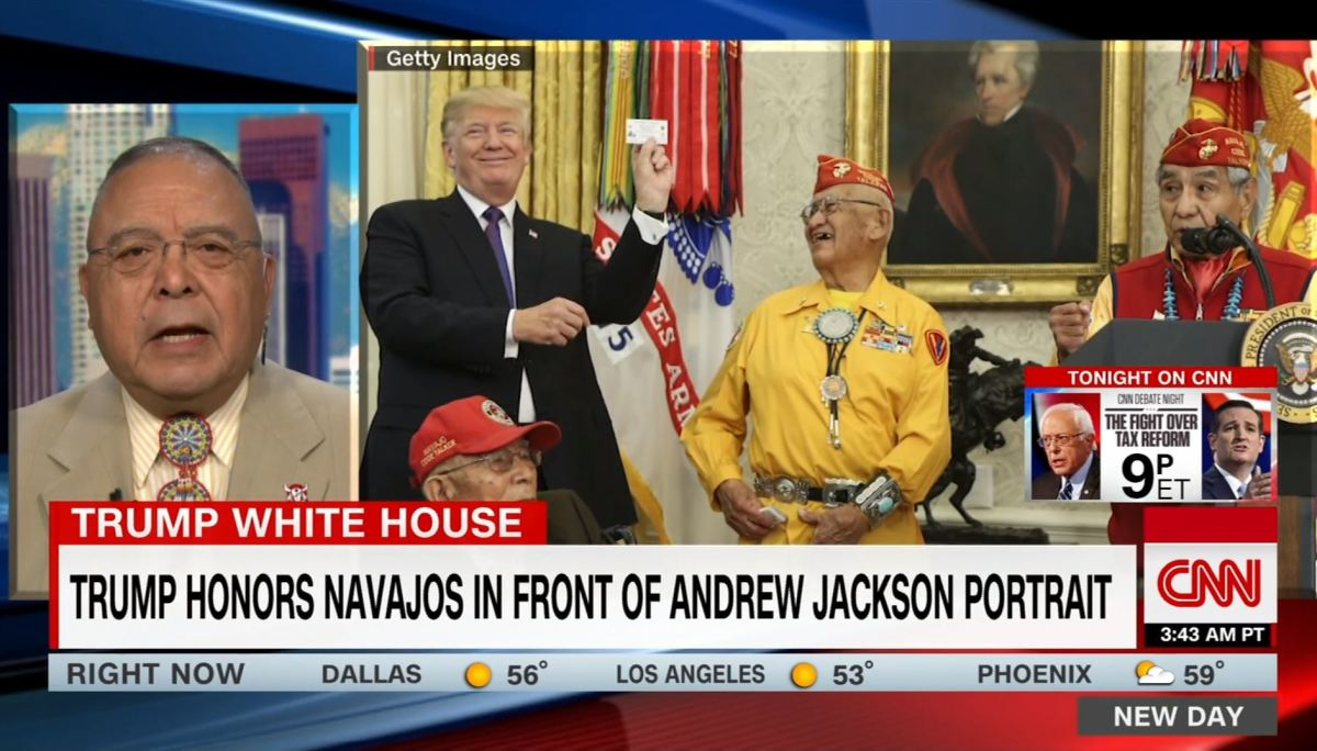 On CNN, Native American actor and producer Sonny Skyhawk stated Trump's decision to host the ceremony standing under a portrait of Andrew Jackson as an intentional jab at Native Americans and the Navajo Code Talkers.