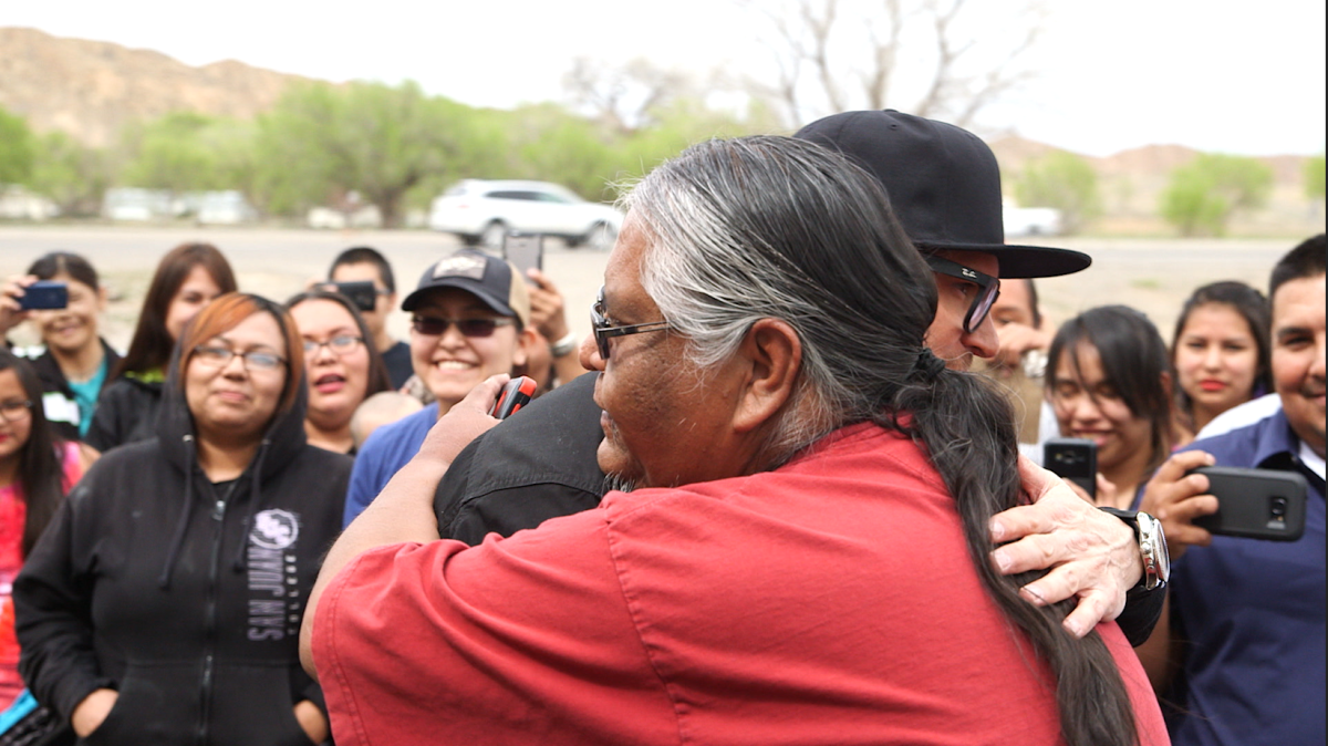 Zak Bagans is hugged by Navajo Nation member Raymond. (last name not known.) Zak Bagans says he was greeted warmly on the Navajo Nation during his latest episode of Ghost Adventures.