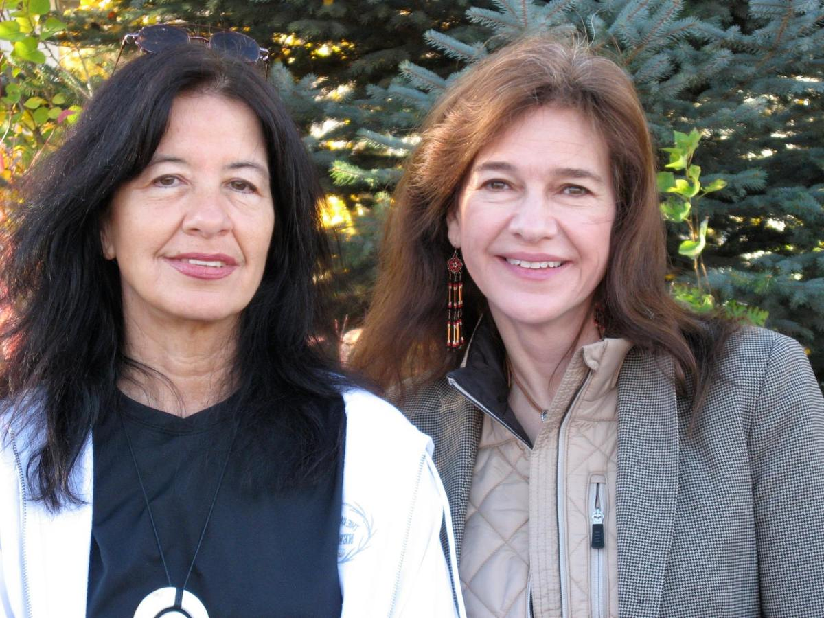 Joy Harjo, (left) who has been awarded the 2017 Ruth Lilly Poetry Prize and $100,000 stands with a fellow respected and award-winning author, Louise Erdrich. Courtesy image.