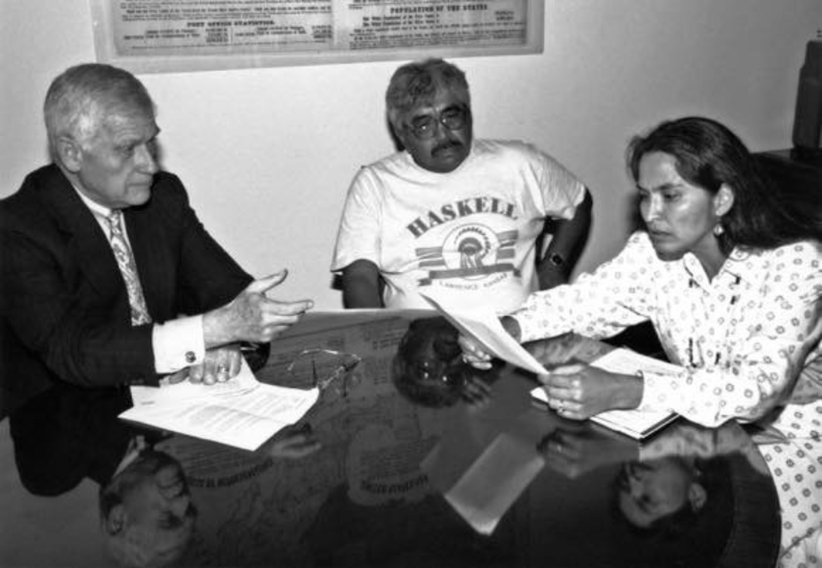 JoAnn Kauffman, In the 1990s, JoAnn helped win federal recognition for sacred sites of the Nez Perce: here with U.S. Senator Mark Hatfield (R-OR) and Keith Red Thunder, son of Joe Red Thunder, prominent tribal leader.