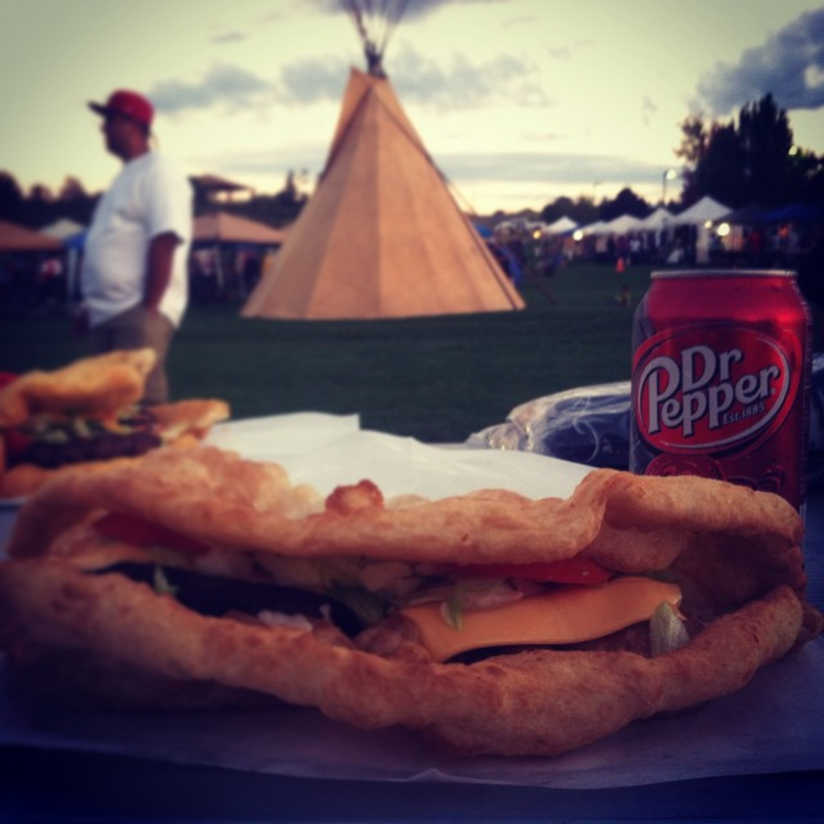 Tipi, frybread, and a can of Dr. Pepper