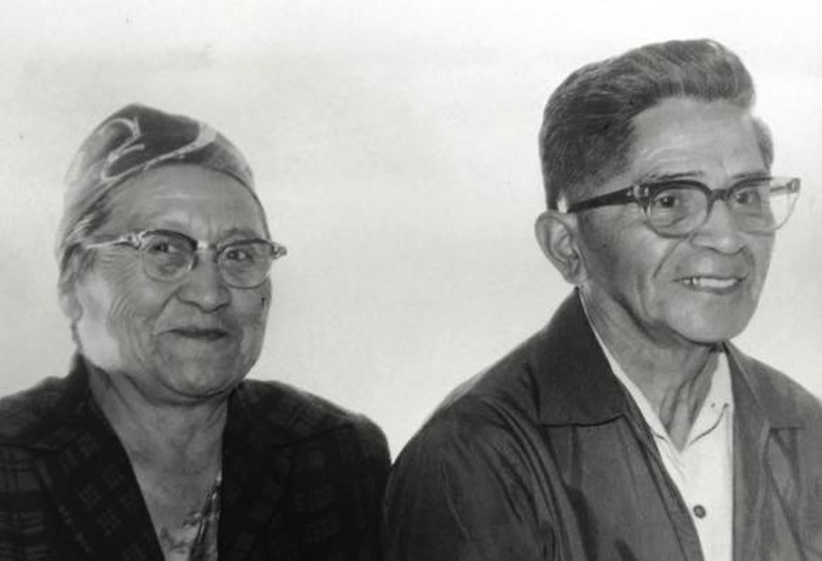 """JoAnn Kauffman, Grandma Lizzie with Willie Moody, her longtime spouse. """"My grandparents' home was very much a Nez Perce home,"""" JoAnn says. """"That was important—the opportunities to go and engage in traditional activities like food gathering."""